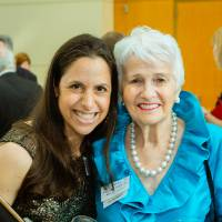 Sylvia Kaufman and guest at the Enrichment Dinner
